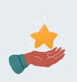 human hand holding star on vector image vector image