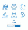 islamic thin line icons set vector image