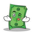 kissing face dollar character cartoon style vector image vector image