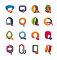 letter q corporate identity icons vector image