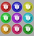 Medicine icon sign symbol on nine round colourful vector image vector image