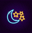 moon star neon sign vector image vector image