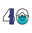 number 40 for anniversary celebration card icon vector image vector image