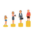 old and young woman stand on stacks of gold coins vector image vector image
