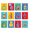 parfume set bottle icon collection in Flat design vector image vector image