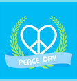 peace day ribbon peace symbol olive branch vector image
