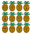 pineapple cartoon character set with emotions on vector image vector image