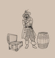 pirate with a hat and a cutlass near the barrel vector image