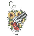 pocket handgun with flowers tattoo vector image