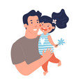 portrait a father with daughter poster vector image vector image