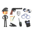 professional policeman and his tools man and his vector image vector image