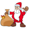 santa claus christmas character with sack vector image