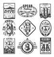 scuba diving and spearfishing vintage logo set vector image