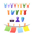 set clothespins clips and pegs paper sheets vector image