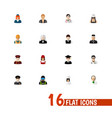 set of 16 editable occupation icons flat style vector image vector image