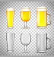 set of glass of beer vector image