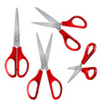 set scissors with red plastic handles open and vector image vector image
