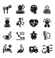 silhouette office syndrome icons set vector image