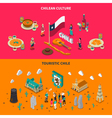 Touristic Chile 2 Isometric Horizontal Banners vector image vector image