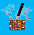 travel suitcase with stickers and world map vector image
