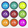 Upload icon sign Nine multi colored round buttons vector image
