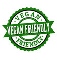 vegan friendly label or sticker vector image vector image