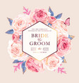 wedding invitation with vintage pink roses vector image vector image