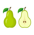 whole green pear and half pear slice vector image