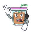 with headphone bubble tea mascot cartoon vector image vector image