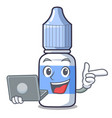 with laptop eye drops small bottle character vector image vector image
