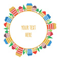 Colored houses doodles on circle seamless pattern vector image