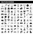 100 fun icons set simple style vector image vector image