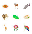 africa icons set isometric style vector image