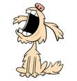 barking or howling shaggy dog cartoon character vector image vector image