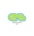 blue green alphabet letter es e s logo icon design vector image vector image