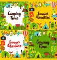 camping lettering posters set vector image vector image