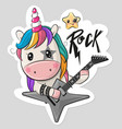 cartoon rock unicorn with a guitar on a white vector image vector image
