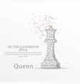 chess queen low poly wire frame on white vector image