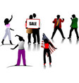 colored people silhouettes vector image