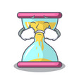 crying modern hourglass on the table cartoon vector image vector image