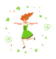 Cute cartoon girl leprechaun dancing