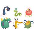 cute cartoon monsters set vector image vector image
