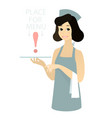 cute waitress with apron holding waiter s tray vector image