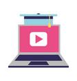 education online laptop graduation hat vector image vector image