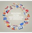 Flat design USA travel postcard with landmarks vector image vector image