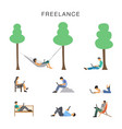 freelancer girl man with vector image vector image