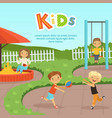 funny different kids playing on playground vector image vector image