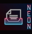 glowing neon line drawer with document icon vector image vector image