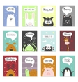 Greeting cards set - cute animals hand vector image vector image