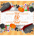 halloween sticker with orange background vector image vector image